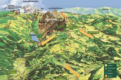 Wanderpanorama, Wanderkarte Dachstein West, Wandern im Sommer, Salzburg, Österreich, Berge, Natur