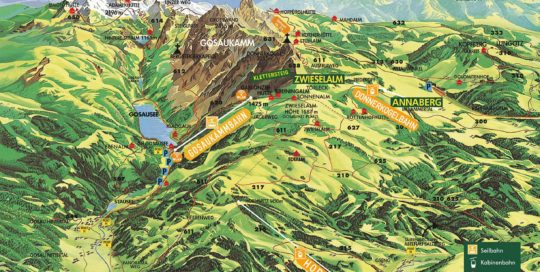 hiking map, hiking panorama, summer, hiking, climbing, mountains, hiking routes, nature, Dachstein West, Dachstein, Salzburg, Austria